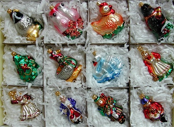 12 Days of Christmas Polish Blown Glass Ornaments